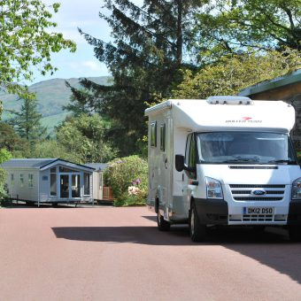 Motorhome outside Skelwith Fold reception