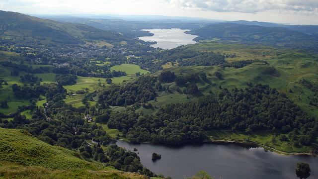 View of Rydal Water, Ambleside and Lake Windermere, taken from the Nab Scar summit. Credit: Peer Lawther.