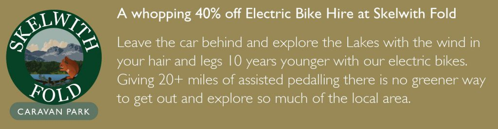 40% discount on electric bike hire at Skelwith Fold