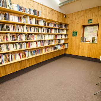 A large selection of books in our trust library at Skelwith Fold