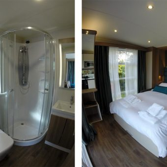 The bedroom and bathroom interiors in the hideaway retreats at Skelwith Fold