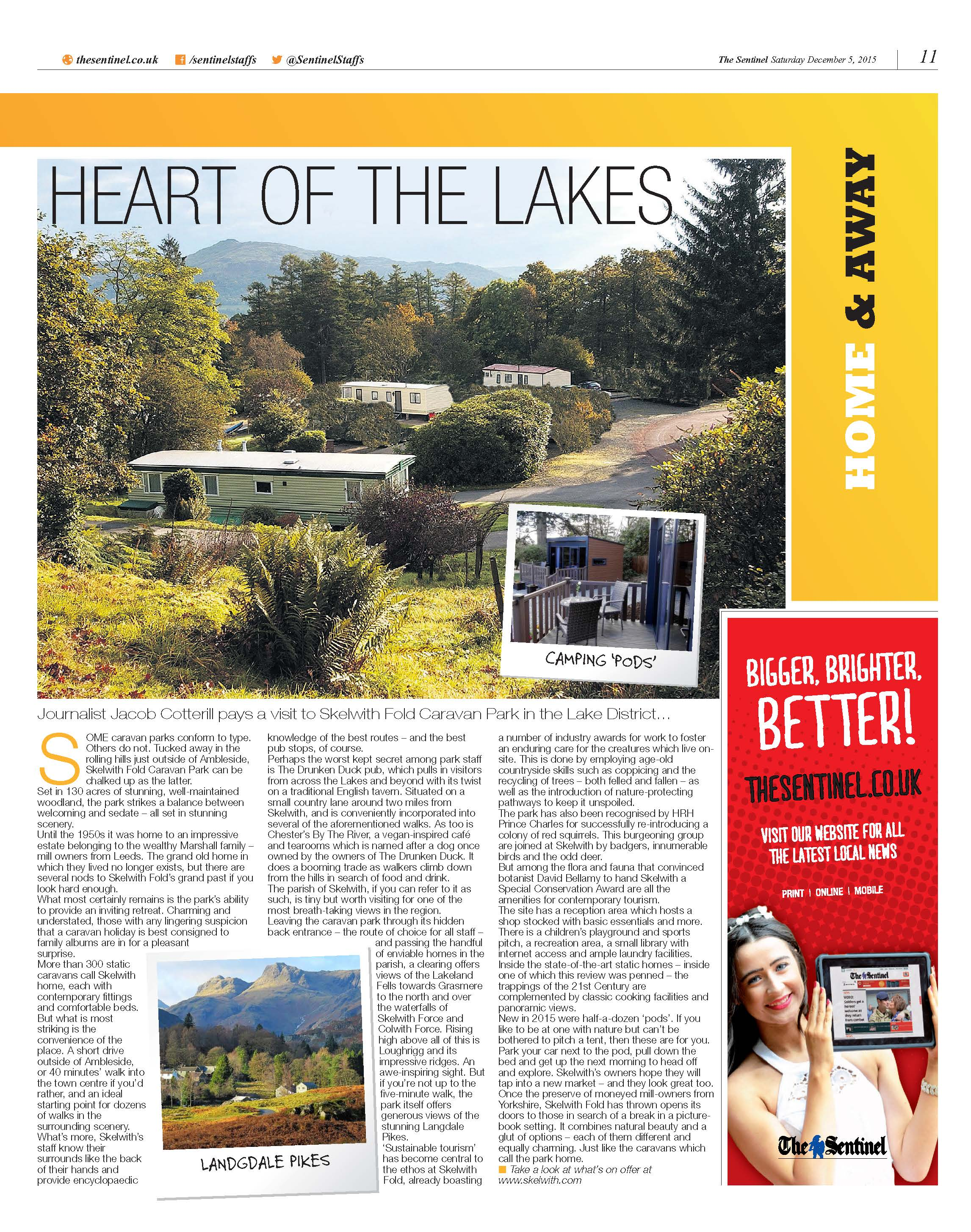 'Heart of the Lakes' Skelwith Fold Caravan Park in the Stoke Sentinel