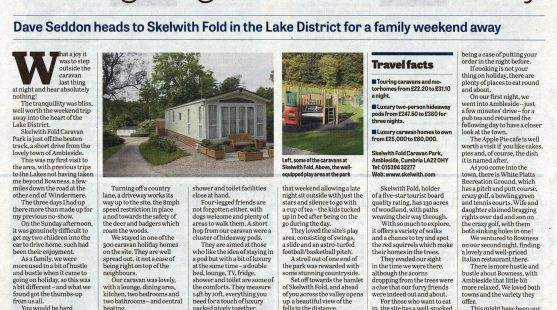 Review of Skelwith Fold Caravan Park in the Lancashire Evening Post