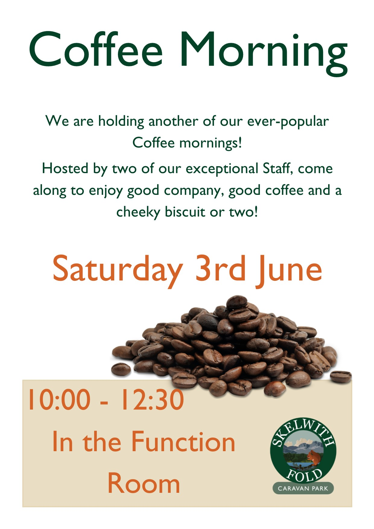 Coffee in the Function Room, 10:00 - 12:30 on Saturday 3rd June