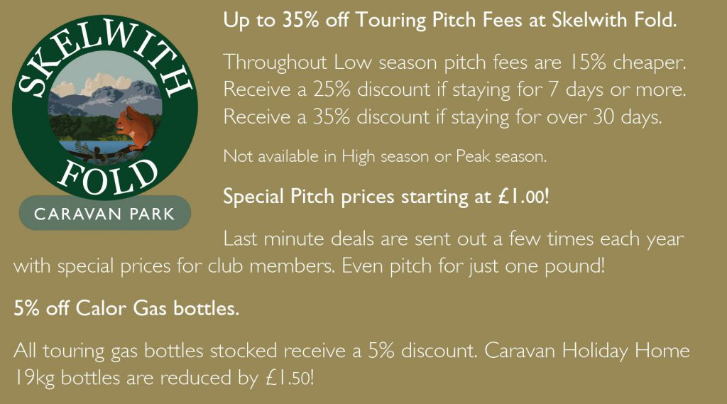 Up to 35% off touring pitch fees at Skelwith Fold