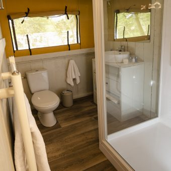 Safari Tent Glamping Pod Bathroom at Skelwith Fold