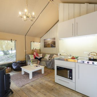 Safari Tent Glamping Pod Kitchen at Skelwith Fold