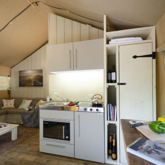 Safari Tent Lake District Glamping Pod Kitchen at Skelwith Fold