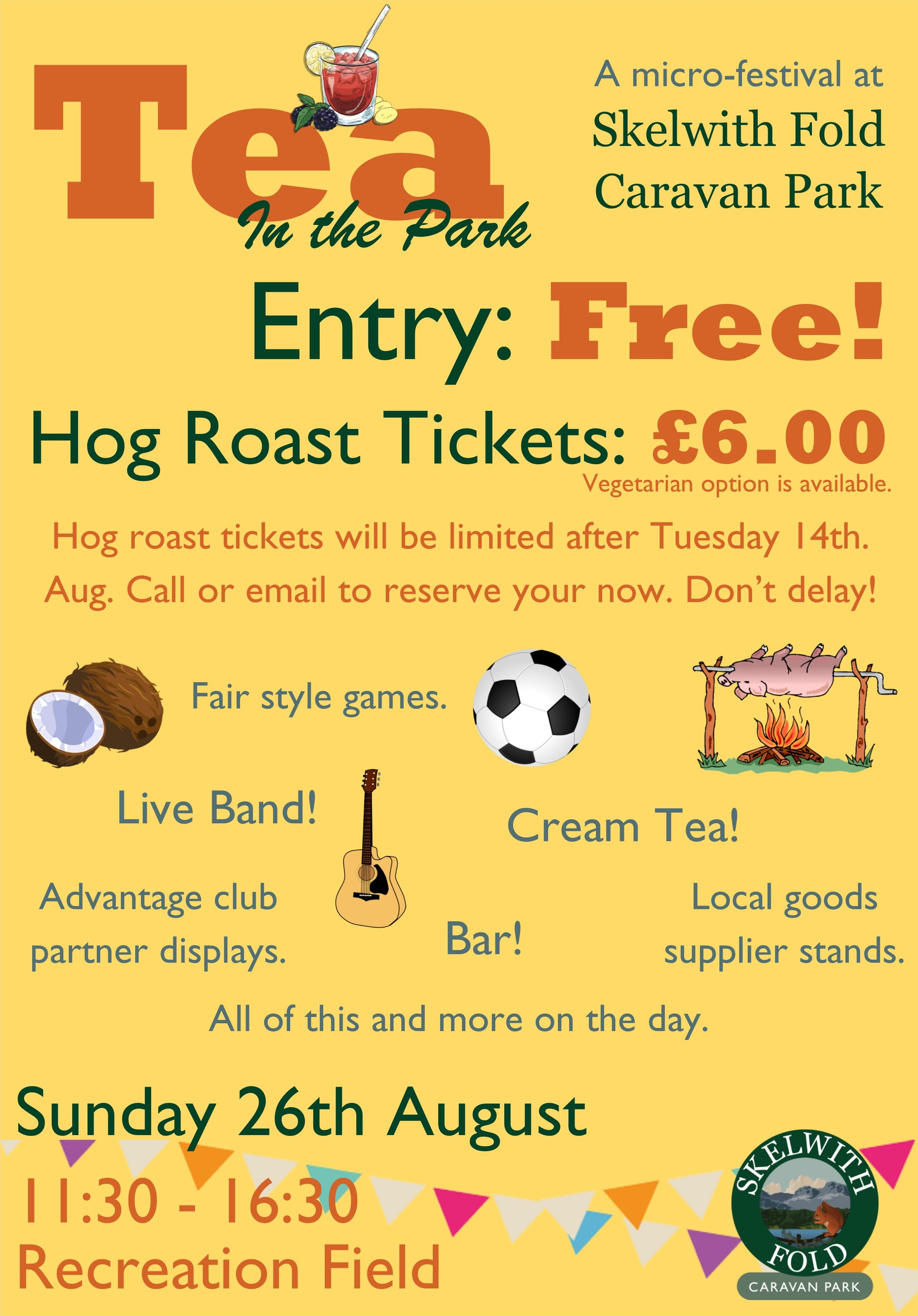 The Skelwith Fold Caravan Park email poster for their Tea in the Park festival, 2018