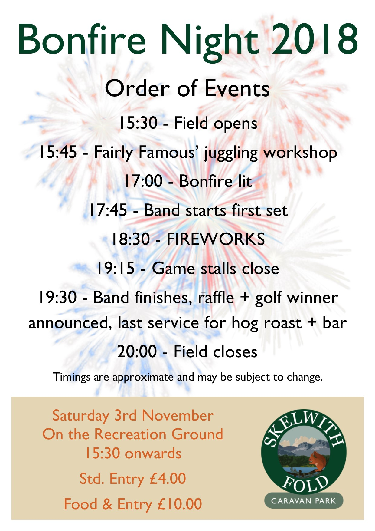 Bonfire Night 2018 Order of Events