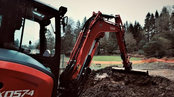 Digger at Skelwith Fold Caravan Park's new playground