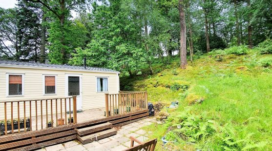 Patio space at pitch 139 Skelwith Fold Caravan Park