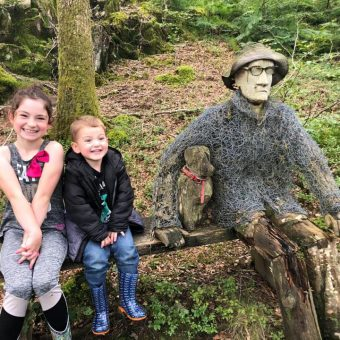 Children in the woodlands at Skelwith Fold
